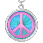 Pretty Pink Over Blue Peace Sign Necklace