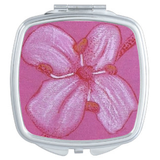 Pretty Pink Painted Flower compact Compact Mirror