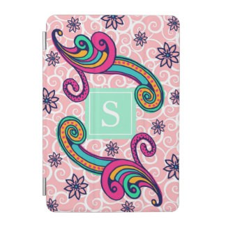 Pretty Pink Paisley Floral Monogram Mint Green iPad Mini Cover