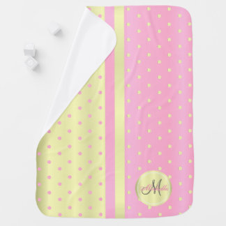 Pretty Pink & Pastel Yellow Polka Dots - Monogram Baby Blanket