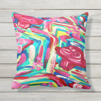 Pretty pink patio pillow