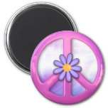 Pretty Pink Peace Sign 6 Cm Round Magnet