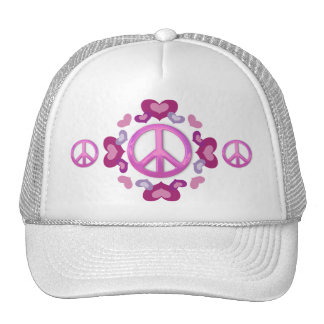 Pretty Pink Peace Sign and Hearts Trucker Hats