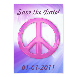 Pretty Pink Peace Sign Announcemets 13 Cm X 18 Cm Invitation Card