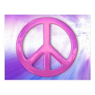 Pretty Pink Peace Sign Post Card
