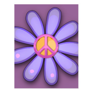 Pretty Pink Peace Sign Post Cards