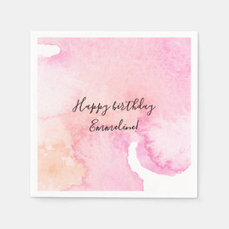 Pretty Pink Peach Watercolor Birthday Disposable Serviette