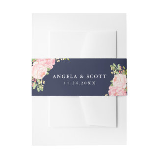 Pretty Pink Peonies on Navy Blue Belly Bands Invitation Belly Band