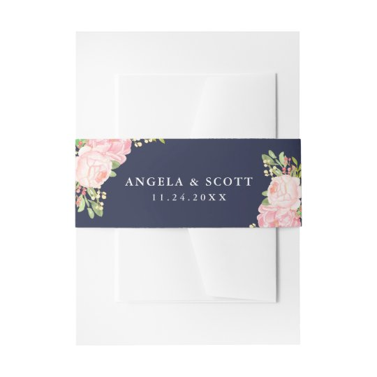 Pretty Pink Peonies on Navy Blue Belly Bands