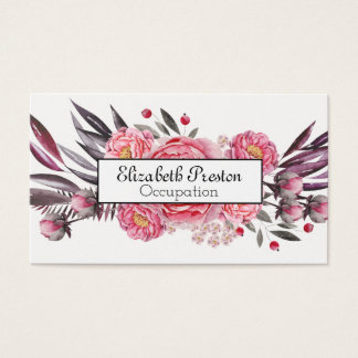 Pretty Pink Peony Bloom Floral Professional Business Card