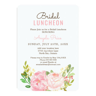 Pretty Pink Peony Bridal Luncheon Invitations