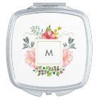 Pretty Pink Peony Flowers with Monogram Travel Mirror