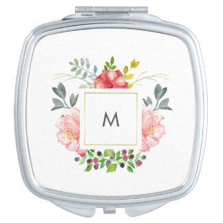 Pretty Pink Peony Flowers with Monogram Travel Mirror