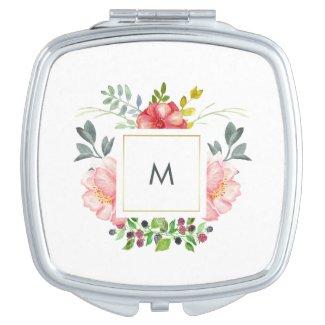 Pretty Pink Peony Flowers with Monogram Vanity Mirror