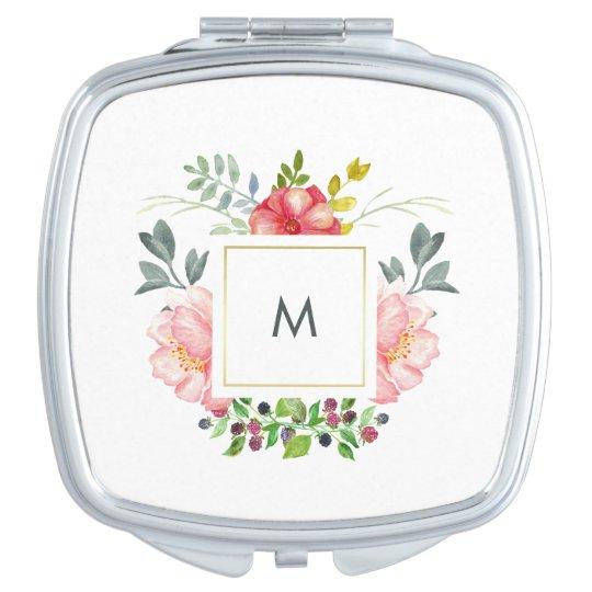 Pretty Pink Peony Flowers with Monogram Vanity Mirror