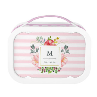 Pretty Pink Peony Watercolor Flowers with Stripes Lunch Box