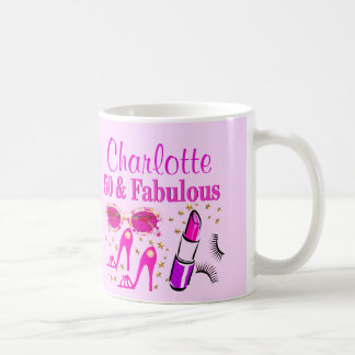 PRETTY PINK PERSONALIZED 50TH BIRTHDAY MUG