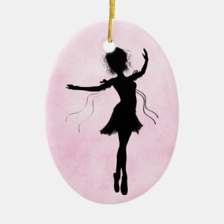 Pretty Pink Personalized Ballerina Silhouette Christmas Ornament