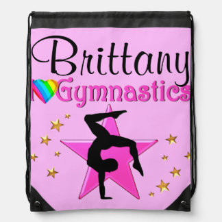 PRETTY PINK PERSONALIZED GYMNASTICS PACKPACK DRAWSTRING BAG