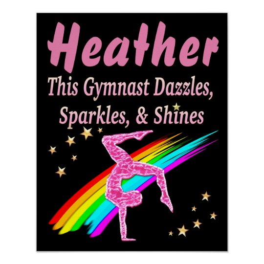 PRETTY PINK PERSONALIZED GYMNASTICS POSTER