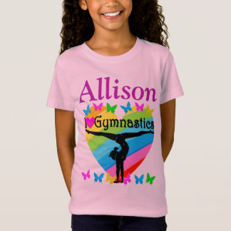 PRETTY PINK PERSONALIZED I LOVE GYMNAST T SHIRT