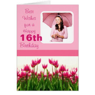 Pretty Pink Photo Template Tulips Greeting Card
