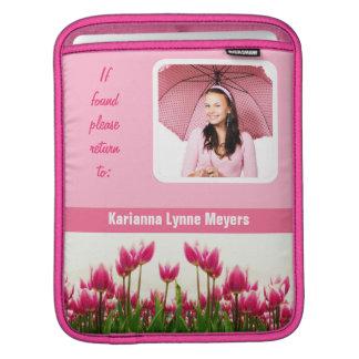 Pretty Pink Photo Template Tulips iPad Sleeves