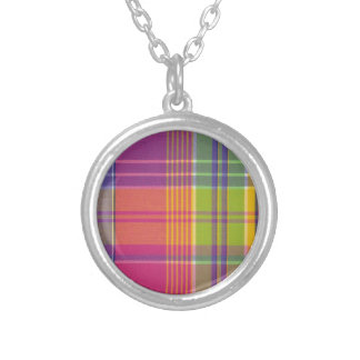 Pretty Pink Plaid Silver Plated Necklace