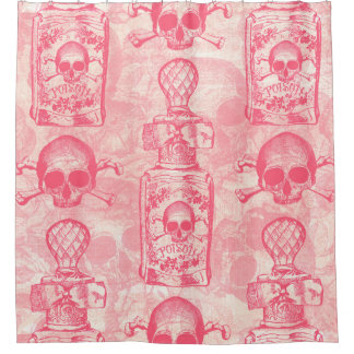 Pretty Pink Poison Bottle Shower Curtain