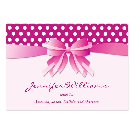 Pretty Pink Polka Dots and Bow Mommy Calling Cards Business Card Template