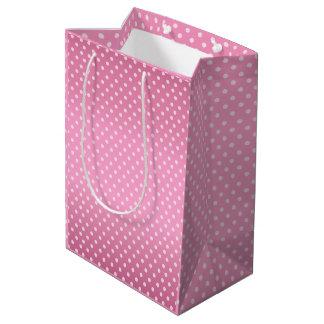 Pretty Pink Polka Dots Pattern Medium Gift Bag