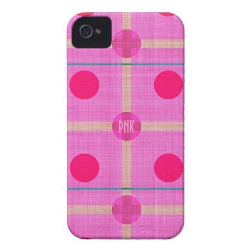 Pretty Pink Polka Dotted Plaid  Personalized! Bold Blackberry Bold Case