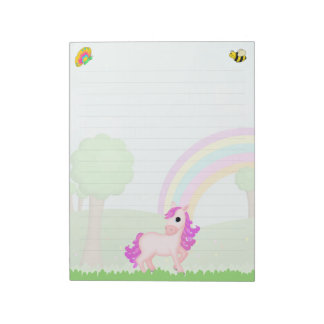 Pretty Pink Pony Horse Cartoon Notepads for Kids