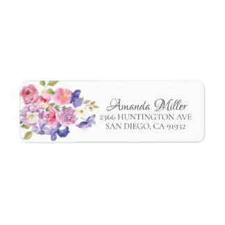 Pretty Pink & Purple Floral Return address