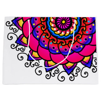 Pretty Pink Purple Mandala Art Large Gift Bag