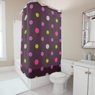 Pretty Pink Purple Red Polka Dots Circles Pattern Shower Curtain
