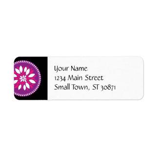 Pretty Pink Purple White Flower Petals Mandala Return Address Label