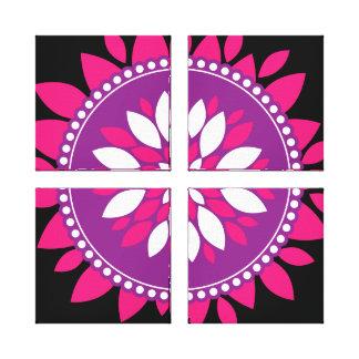 Pretty Pink Purple White Mandala Flower Circle Canvas Print
