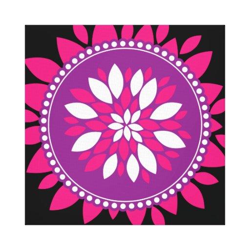 Pretty Pink Purple White Mandala Flower Circle Stretched Canvas Prints