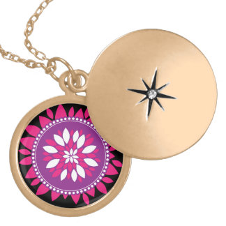 Pretty Pink Purple White Mandala Flower Circle Necklace