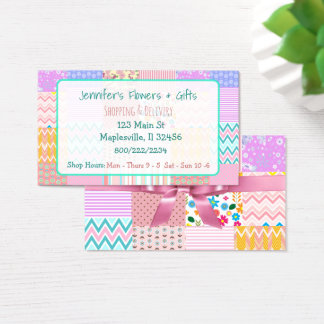 Pretty Pink Quilt & Bow Business Card
