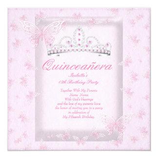 Pretty Pink Quinceanera Party Tiara Butterflies 13 Cm X 13 Cm Square Invitation Card