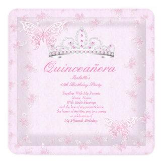 Pretty Pink Quinceanera Party Tiara Butterflies 2 13 Cm X 13 Cm Square Invitation Card