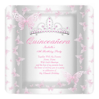 Pretty Pink Quinceanera Party Tiara Butterfly 13 Cm X 13 Cm Square Invitation Card