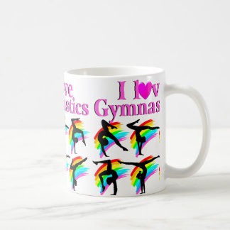 PRETTY PINK RAINBOW GYMNASTICS DESIGN COFFEE MUG
