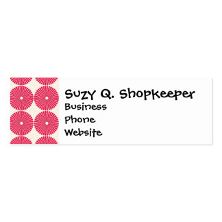 Pretty Pink Red Circles Disk Textured Buttons Pack Of Skinny Business Cards