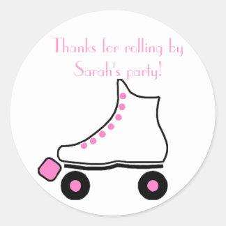 Pretty Pink Roller Skate Birthday Sticker