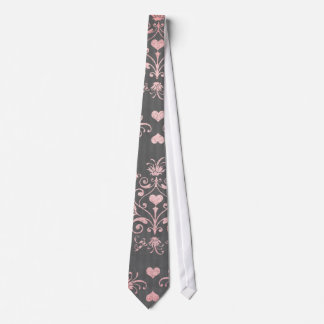 pretty pink romantic heart damask on vintage grey tie