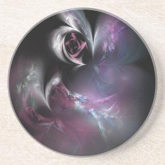 Pretty Pink Rose Fractal Coaster