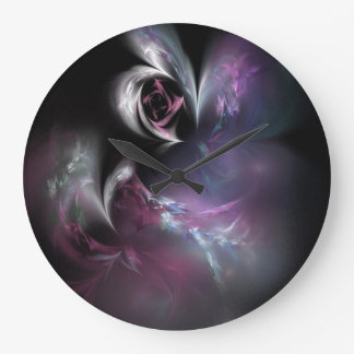 Pretty Pink Rose Fractal Large Clock